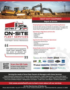 Heavy Duty Equipment Repair by On-Site Fleet Services of Florida