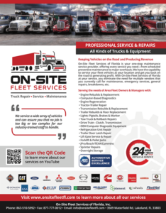 Truck Service and Repair by On-Site Fleet Services of Florida